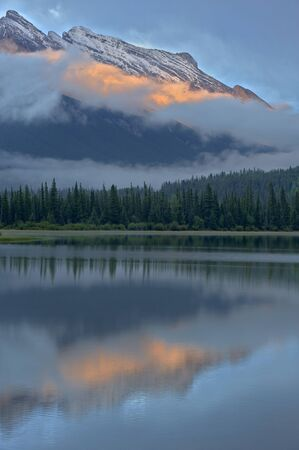 Mt Rundle reflected in Vermillion Lakes, Banff National Park, Alberta, Canada Stock Photo - 133136124