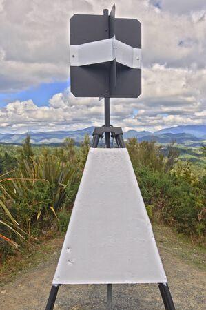 geodetic survey mark in Trig Beacon, Hope Saddle, South Island, New Zealand