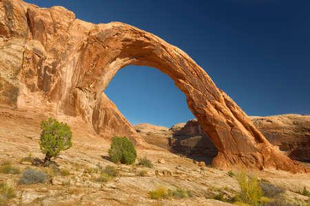 Desert view of Corona Arch, Utah.