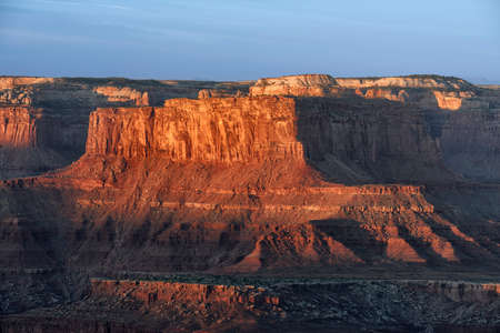 Warm sunset light on the cliffs of Dead Horse Point State Park, Utah.