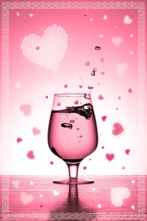 valentines card with glass and hearts photo