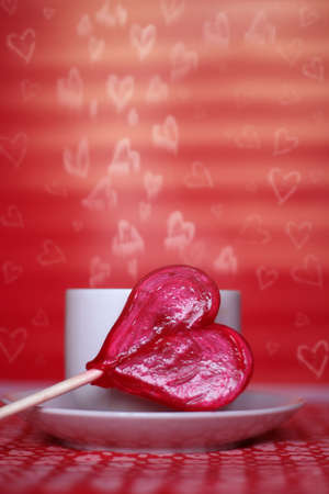 ecard: valentines card with heart shaped lollipop Stock Photo