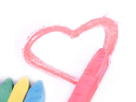 heart drawn with red chalk photo