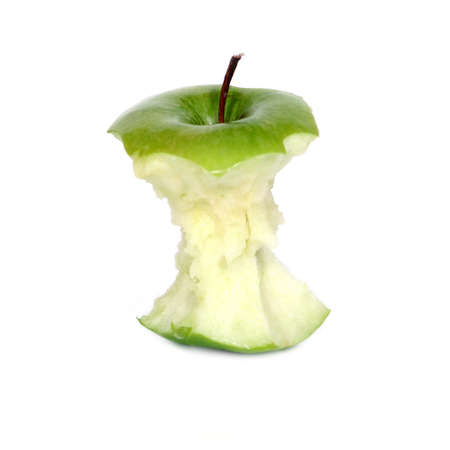 apple core: green apple core over white (see similar photos in my portfolio) Stock Photo