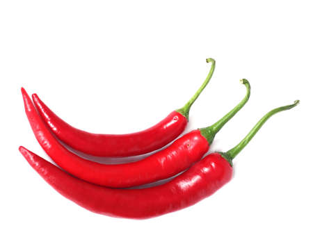 selection of hot chilli peppers with isolated background