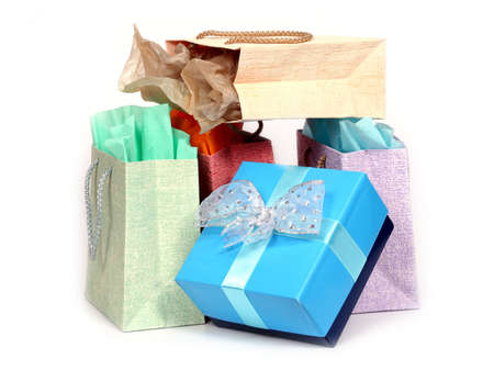 gift bags isolated on white