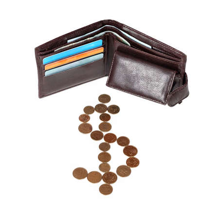 brown wallet with cards and coins isolated on white background photo