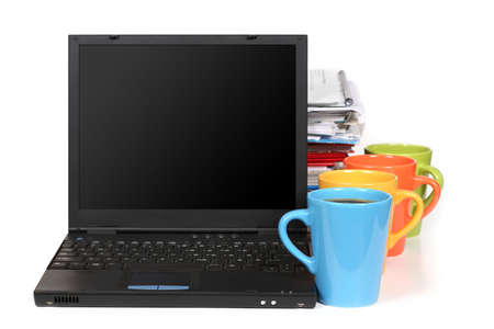 underpaid: Lots of paperwork? Take a break! - stack of papers, laptop and 4 cups of coffee