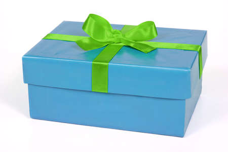 blue wrapped gift with greenn ribbon