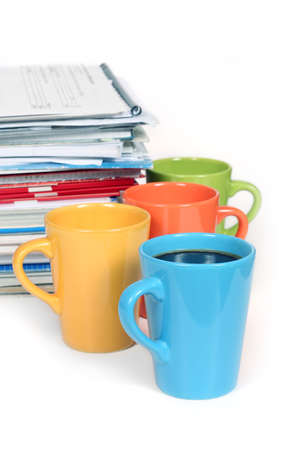 underpaid: Lots of paperwork? Take a break! - stack of papers and 4 cup of coffee