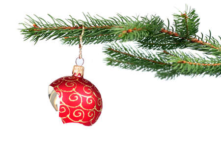 glass ornament: Detail of christmas tree with a broken red glass ball