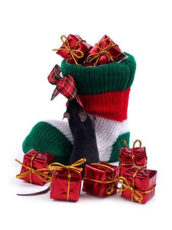 Christmas stocking full of presents Stock Photo