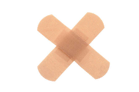 med: Bandaid in cross shape, isolated white background
