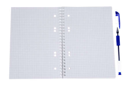 an open spiral bound notebook with grid paper and a pen photo
