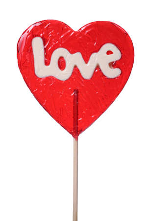 shaped: heart shaped lollipop isolated on white background Stock Photo