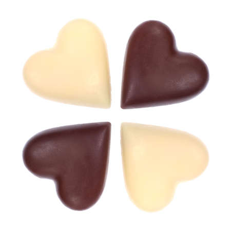 shaped: four heart shape cookies isolated on a white clear background