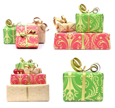 set of elegant gifts on white backgrount with small shadow Stock Photo - 6230359
