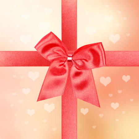 Valentine gift with big red bow photo