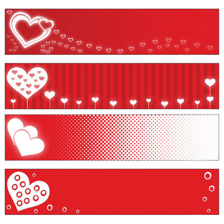 4 red Valentines Day banners with hearts