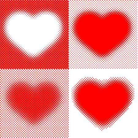 4 red stylized hearts photo