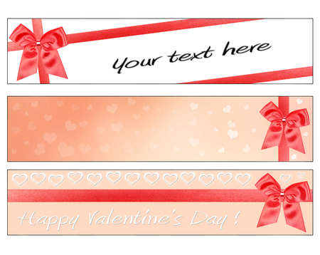 3 Valentines Day banners with red ribbon and bow photo