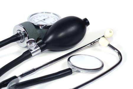 medico: stethoscope and sphygmomanometer- blood pressure monitor