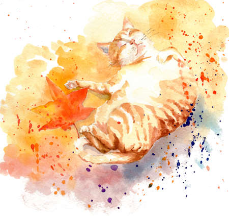 watercolor painting illustration cat kitty kitten adorable Stock Photo