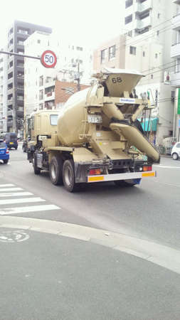 Concrete mixer truck on the road TokyoJapan