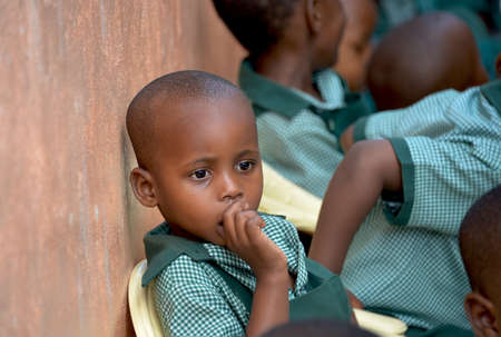 Thoughtful and Concerned African Schoolboy