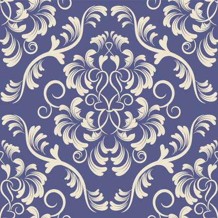 花ダマスク シームレスな背景パターンの花壁紙  イラスト・ベクター素材