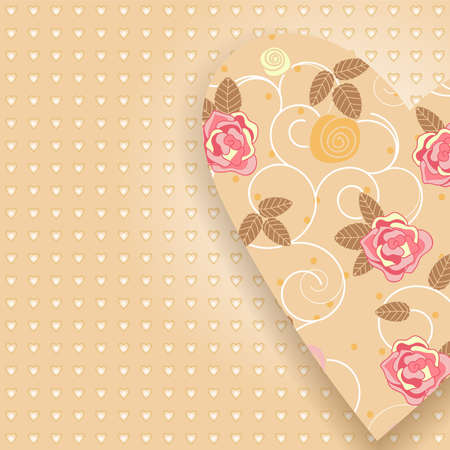 vector greeting card with roses and hearts Vector