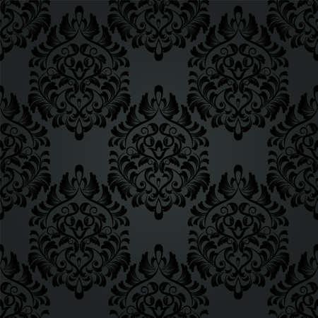 Luxury Seamless Charcoal Gothic Pattern Dark Wallpaper Stock Vector