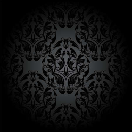 Luxe naadloze houtskool gothic patroon. Donker behang