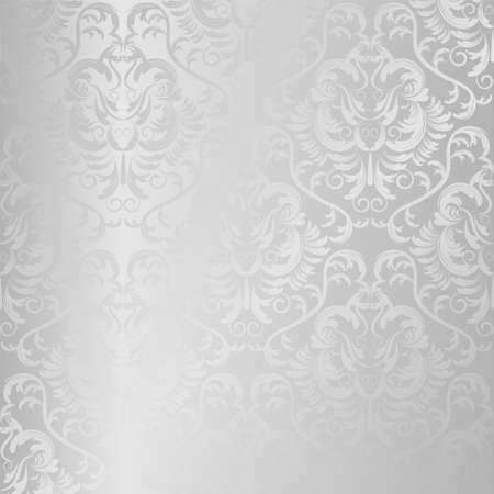 シームレスなベクトル銀のテクスチャです。花の光背景