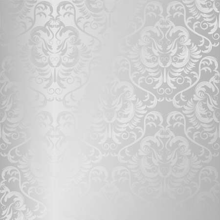 seamless vector silver texture. floral light background Vector