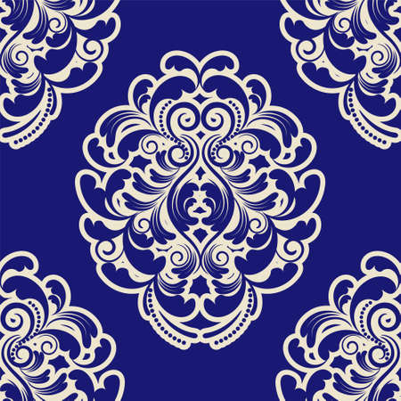 blue damask: Seamless Blue Damask.