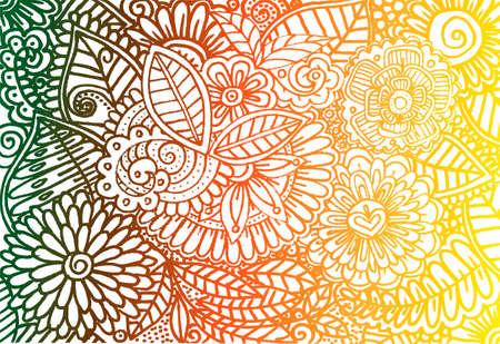 Doodle rainbow bloem behang