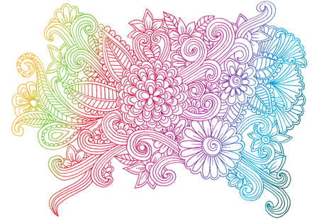 Line Art Hand : Doodle flowers line art hand drawing floral pattern royalty free