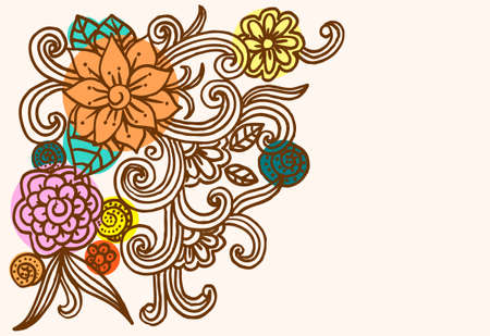 Handdrawn color flowers