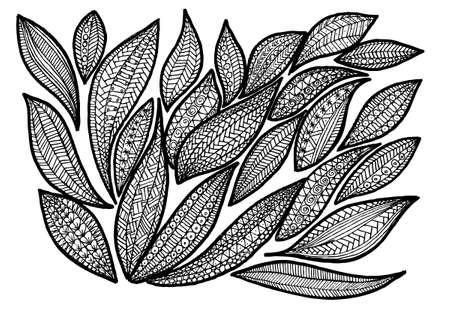 leaf line: leafs in black Illustration