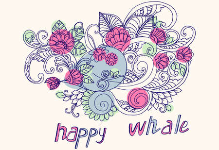 cutie: Happy whale with floral pattern Illustration