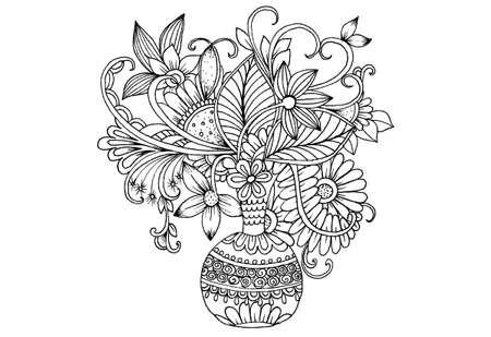 Ilustración Vectorial Florales En Blanco Y Negro Para Colorear. Ramo ...