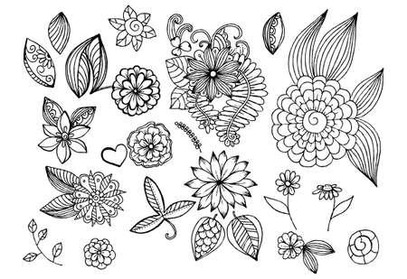 デザインやカラーリングの落書き花要素のセット