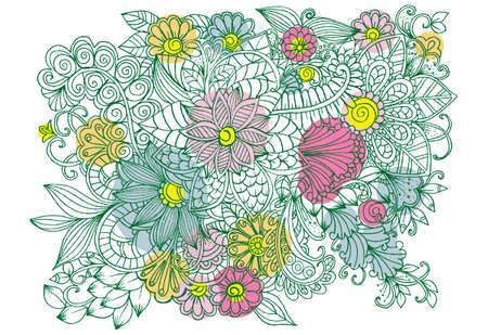 落書き花とヴィンテージのカード  イラスト・ベクター素材