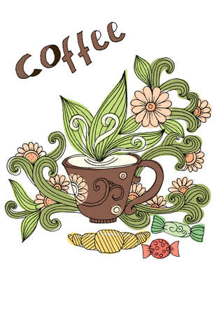 Doodle cup of coffee. Cup of tea with milk. Breakfast accessories and flowers. Morning time