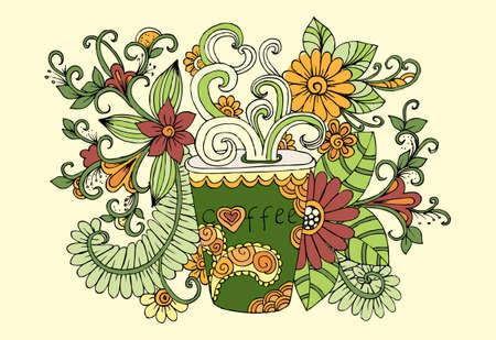 一杯のコーヒーを落書き。ミルクティーのカップ。朝食アクセサリーと花です。朝の時間