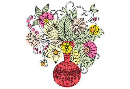 Doodle vase with wildflowers. Illustration