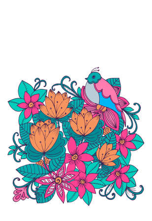 color pages: Vintage card with doodle flowers and birds