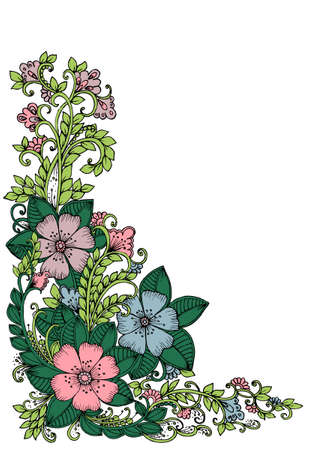 Card with doodle flowers in corner Illustration