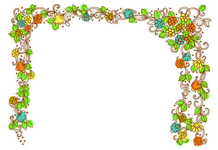 Doodle drawing for coloring book.  pattern. Beautiful flower vector. Flower frame